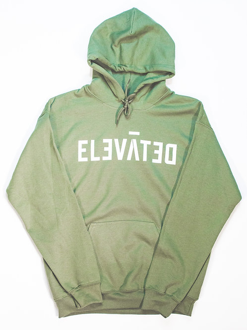 ELEVĀTED Hoodie | Olive & White