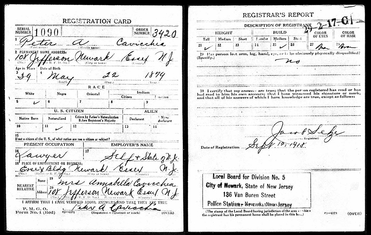 peter-a-cavicchia-WWI-Draft-Registration
