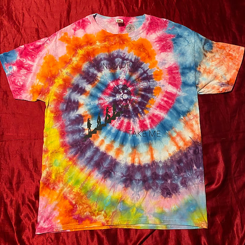 """Large one of a kind tie-dye """"Take Me"""" t-shirt"""