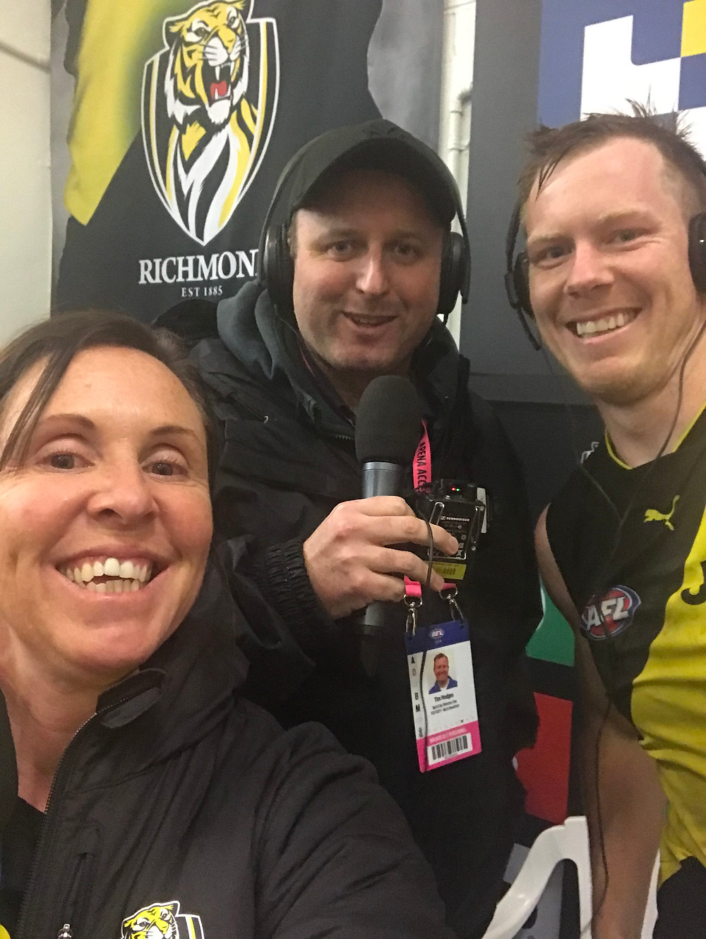 Celebrating a win with Fox Footy producer Tim Hodges and vice captain Jack Riewoldt.