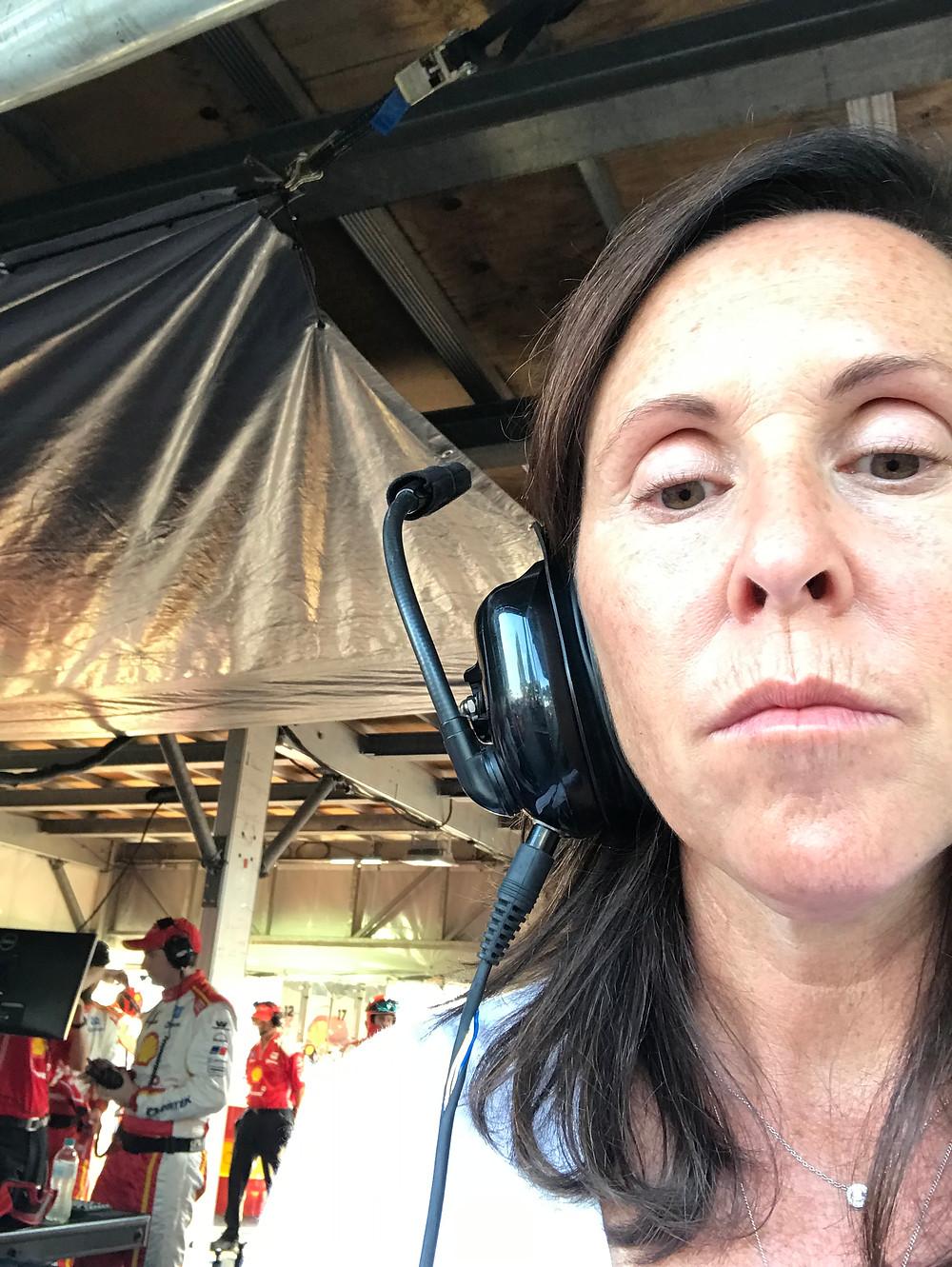Emma Murray working at the Australian Grand Prix.