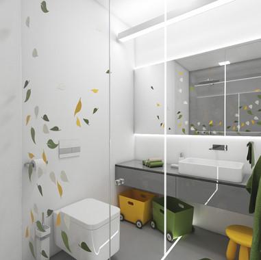 Chalpčenská kúpeľňa s témou džungle | design CADFACE