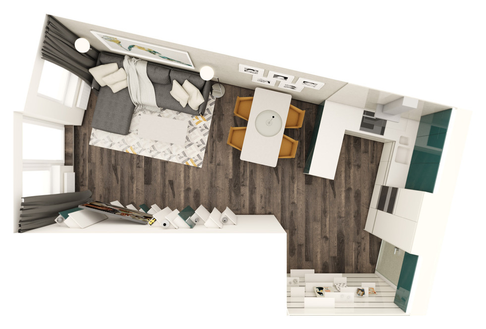 Obývacia izba s kuchyňou - pôdorys | design CADFACE