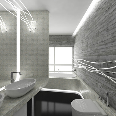 Elegant bathroom design in which the industrial meets the high-end and roughness meets luxury | by CADFACE