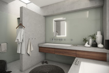 Industrial chic bathroom with tempered-glass panels   by CADFACE