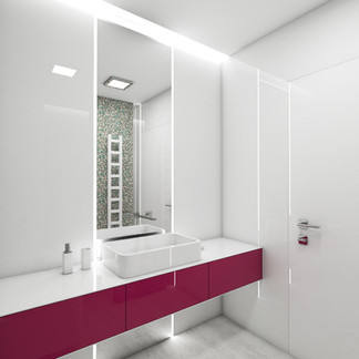Elegant glossy bathroom with splashes of pink   by CADFACE