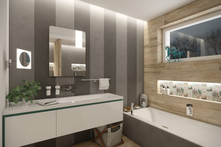 Eclectic en-suite bathroom with grey wall panels | by CADFACE