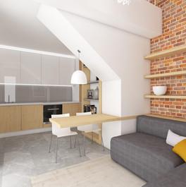 Domček pre hostí - obývačka s kuchynkou   design CADFACE