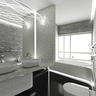Industrial chic bathroom with custom light fixtures   by CADFACE