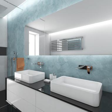 Detská kúpeľňa s modrou stierkou | design CADFACE