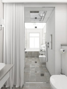 Chic bathroom and powder room separated by a custom steam shower   by CADFACE