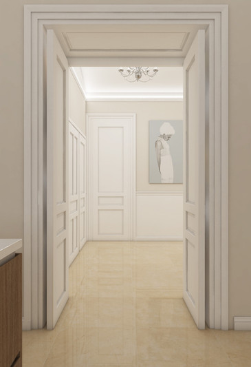 Luxusný apartmán - prechod z kuchyne do haly | design CADFACE