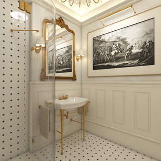 Luxurious bathroom for an apartment renovation in Louis XVI. style   by CADFACE
