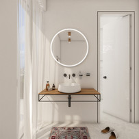 Beautiful white-on-white en-suite bathroom   by CADFACE