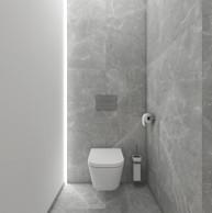 Minimalist grey powder room   by CADFACE