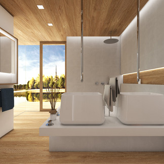 Luxury bathroom with wooden floor and ceiling | by CADFACE