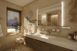 Cozy spa-like bathroom with infrared sauna   by CADFACE