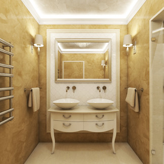 Luxury bathroom decorated with venetian stucco | by CADFACE