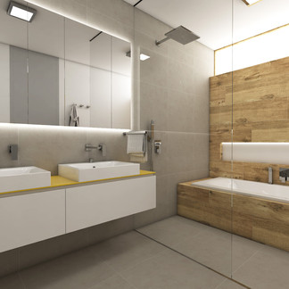 Large family bathroom with wood-imitation tiles | by CADFACE
