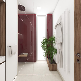Walk-in shower with burgundy-colour tiles   by CADFACE
