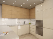 High-gloss kitchen with wooden shelves on top | by CADFACE