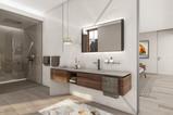 High-end bathroom with custom marble cladding   by CADFACE