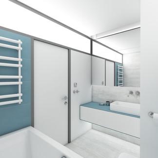 Minimalist bathroom design for a modular bathroom renovation   by CADFACE