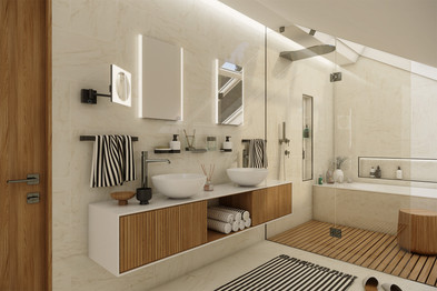Relaxing bathroom in the attic apartment   by CADFACE