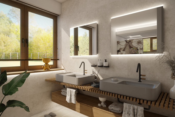 High-end bathroom with custom features   by CADFACE