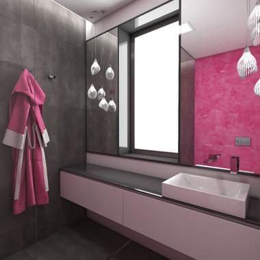 En-suite kúpeľňa s ružovou stierkou a tmavošedým obkladom | design CADFACE
