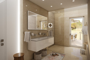 Spacious bathroom with private terrace   by CADFACE