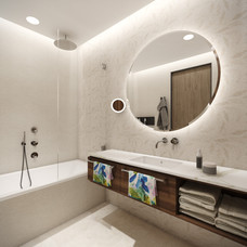 Relaxing en-suite bathroom with leaf-decor wall tiles   by CADFACE