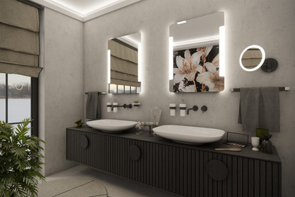Elegant bathroom with a custom vanity cabinet and a floral decor mosaic   by CADFACE