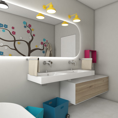 Kids' bathroom with a colourful tree wall decoration | by CADFACE