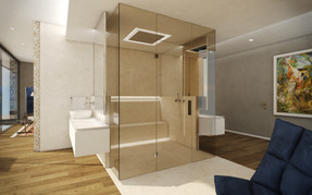 Luxury onyx-cladded bathroom with double steam shower   by CADFACE