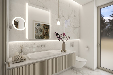 Glamorous powder room with marble cladding | by CADFACE