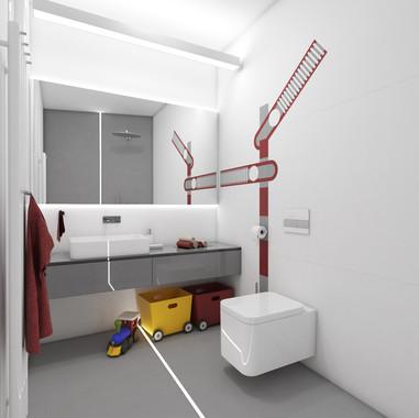Chalpčenská kúpeľňa s témou železnice | design CADFACE