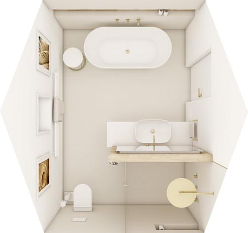 En-suite hosťovská kúpeľňa - pôdorys | design CADFACE