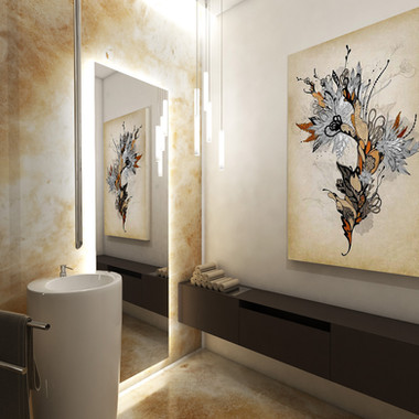 Guest lavatory cladded with onyx slabs | by CADFACE