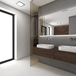 Luxury bathroom in a minimalist style with dark-wood elements | by CADFACE