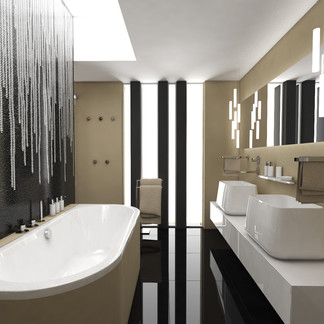 Luxury bathroom with glossy tiles and velvet stucco | by CADFACE
