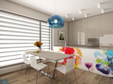 Elegantná kuchyňa s farebnými akcentami | design CADFACE