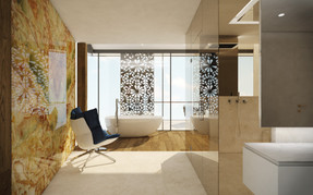 Luxury onyx-cladded bathroom with steam shower and solitary bathtub   by CADFACE