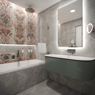 Kids' en-suite bathroom with damask wall tiles | by CADFACE