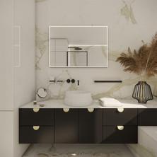 Elegant bathroom with custom dark vanity cabinet   by CADFACE