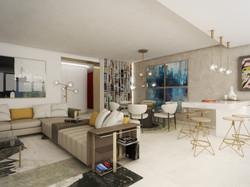 Obývačka s kuchyňou | design CADFACE