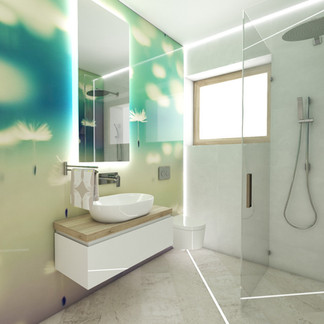 Colourful bathroom with tempered-glass cladding | by CADFACE