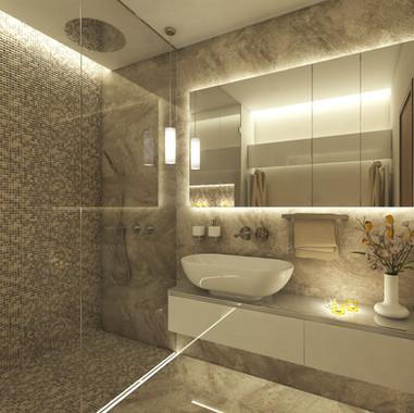 Spa-like bathroom with a custom steam shower   by CADFACE