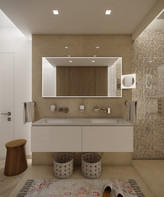 Spacious bathroom with glossy marble tiles   by CADFACE