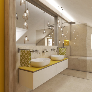 Charming attic bathroom cladded with natural travertine stone | by CADFACE